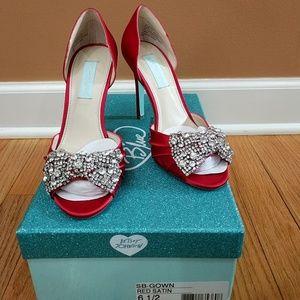 Betsy Johnson Red Satin Princess Shoes